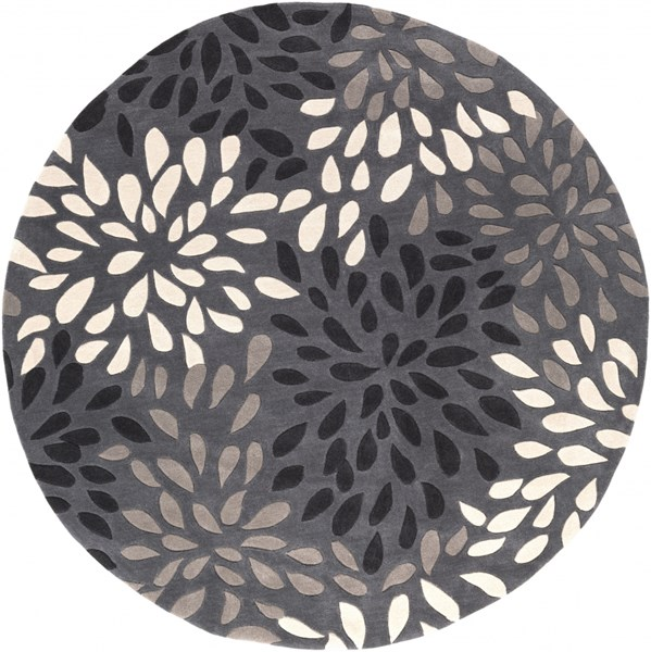 Cosmopolitan Charcoal Taupe Gray Polyester Area Rug (L 96 X W 96) COS9263-8RD