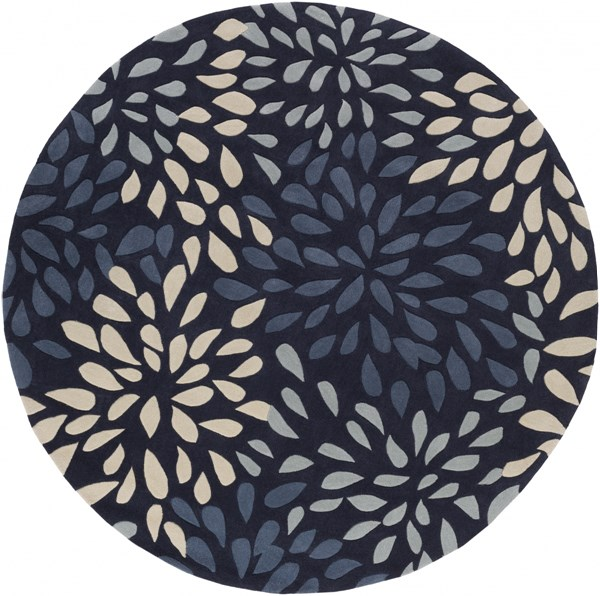 Cosmopolitan Modern Navy Gray Beige Polyester Area Rug (L 96 X W 96) COS9265-8RD
