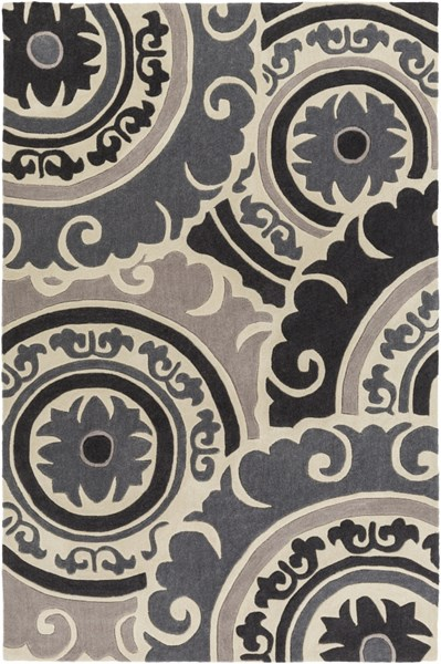 Cosmopolitan Black Light Gray Beige Polyester Area Rug - 60 x 96 COS9268-58
