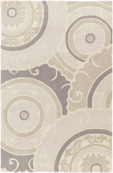 Cosmopolitan Modern Ivory Light Gray Polyester Area Rug (L 96 X W 60) COS9269-58