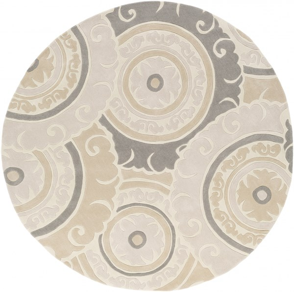 Cosmopolitan Modern Ivory Light Gray Polyester Area Rug (L 96 X W 96) COS9269-8RD