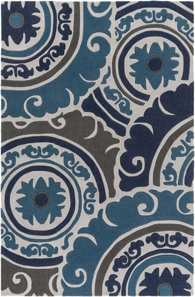 Cosmopolitan Navy Teal Charcoal Polyester Area Rug - 60 x 96 COS9270-58