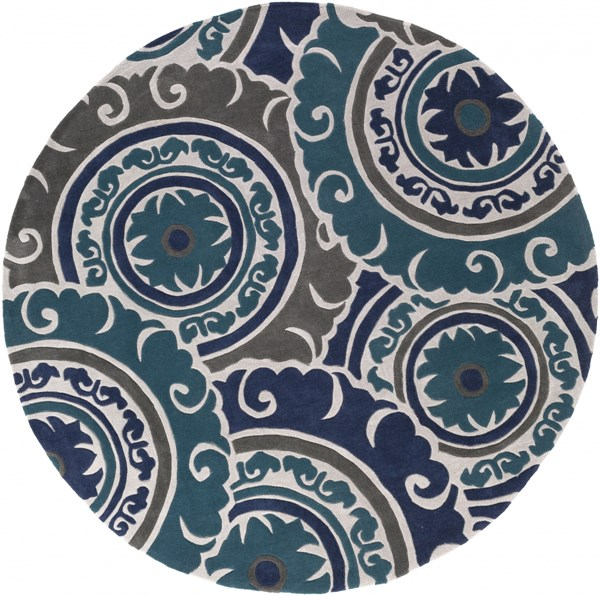Cosmopolitan Navy Teal Charcoal Polyester Round Area Rug - 96 x 96 COS9270-8RD