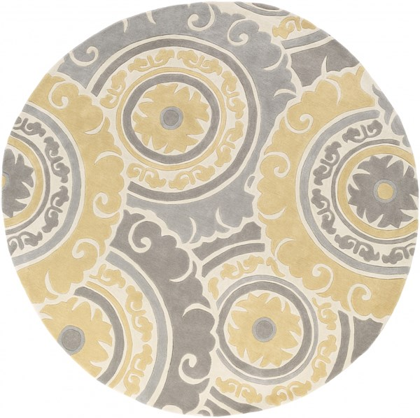 Cosmopolitan Gold Ivory Gray Polyester Round Area Rug - 96 x 96 COS9271-8RD