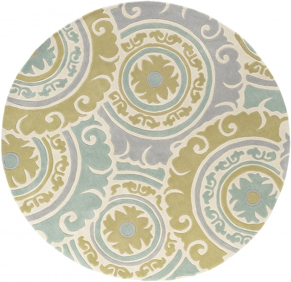 Cosmopolitan Moss Gray Ivory Polyester Round Area Rug - 96 x 96 COS9272-8RD