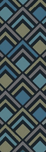 Cosmopolitan Navy Teal Olive Polyester Area Rug (L 96 X W 30) COS9273-268