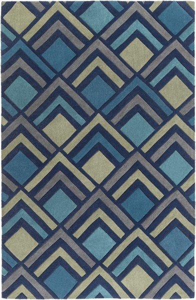 Cosmopolitan Navy Teal Olive Polyester Area Rug (L 96 X W 60) COS9273-58