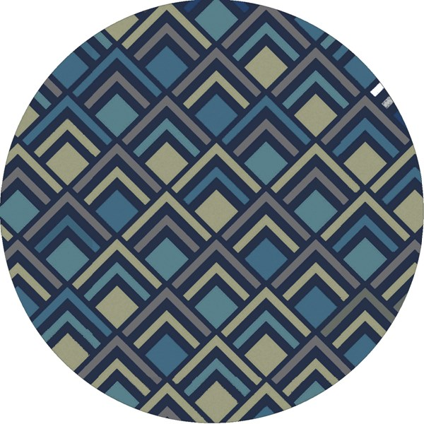 Cosmopolitan Navy Teal Olive Polyester Area Rug (L 96 X W 96) COS9273-8RD