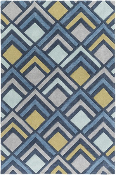 Cosmopolitan Navy Olive Light Gray Polyester Area Rug (L 96 X W 60) COS9274-58