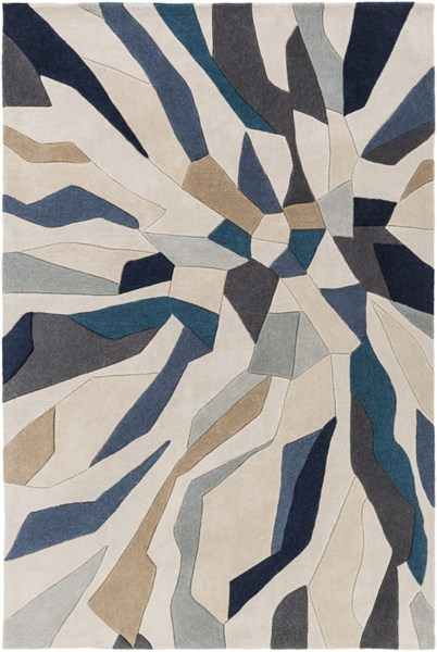 Cosmopolitan Teal Navy Light Gray Polyester Area Rug (L 96 X W 60) COS9278-58
