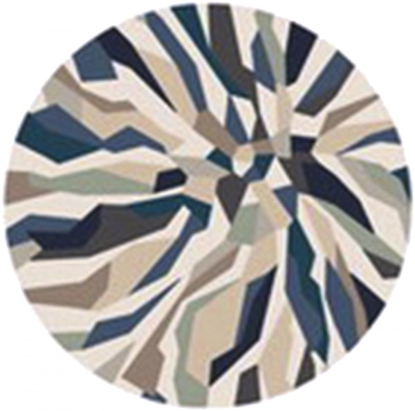 Cosmopolitan Teal Navy Light Gray Polyester Area Rug (L 96 X W 96) COS9278-8RD