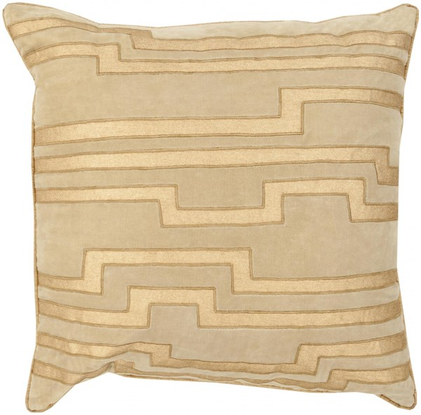 Velocity Olive Gold Poly Linen Cotton Velvet Throw Pillow - 20x20x5 COV002-2020P