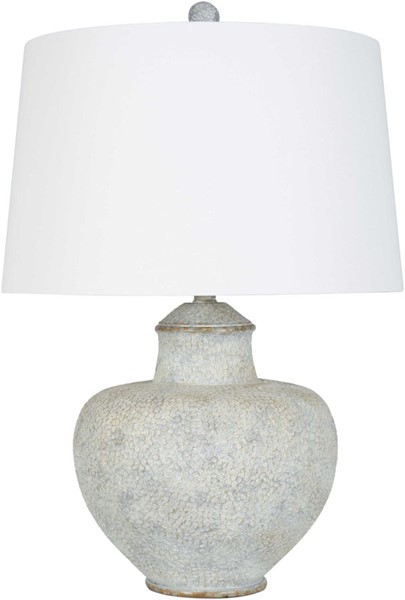 Surya Cooper Light Gray White Pale Linen Table Lamp - 17x26 CPLP-006