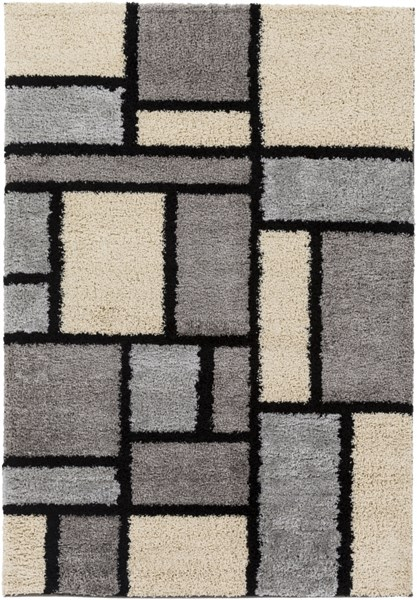 Concepts Modern Beige Olive Gray Olefin Shag Area Rug (L 90 X W 63) CPT1734-5376
