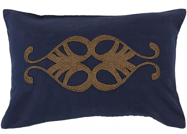 Cairo Contemporary Navy Gold Linen Cotton Down/Poly Fill Lumbar Pillow 13438-VAR1