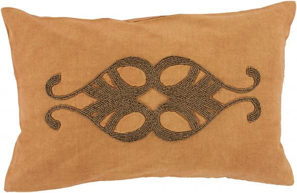 Cairo Burnt Orange Gold Down Linen Cotton Lumbar Pillow - 20x13x5 CR002-1320D
