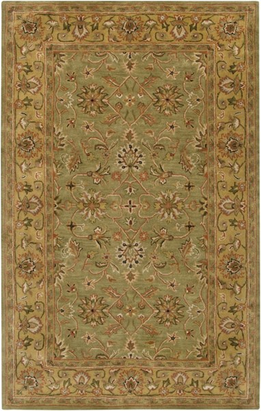 Crowne Olive Lime Rust Wool Area Rug (L 96 X W 60) CRN6001-58
