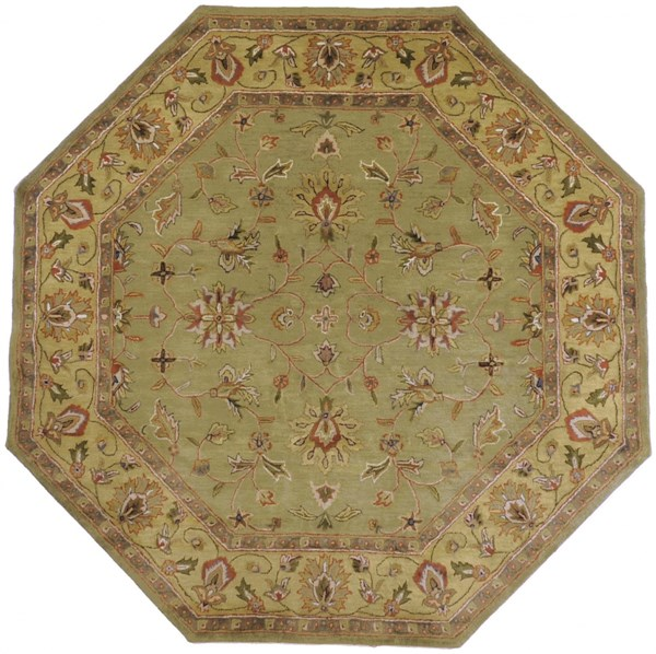 Crowne Olive Lime Rust Wool Octagon Area Rug (L 96 X W 96) CRN6001-8OCT