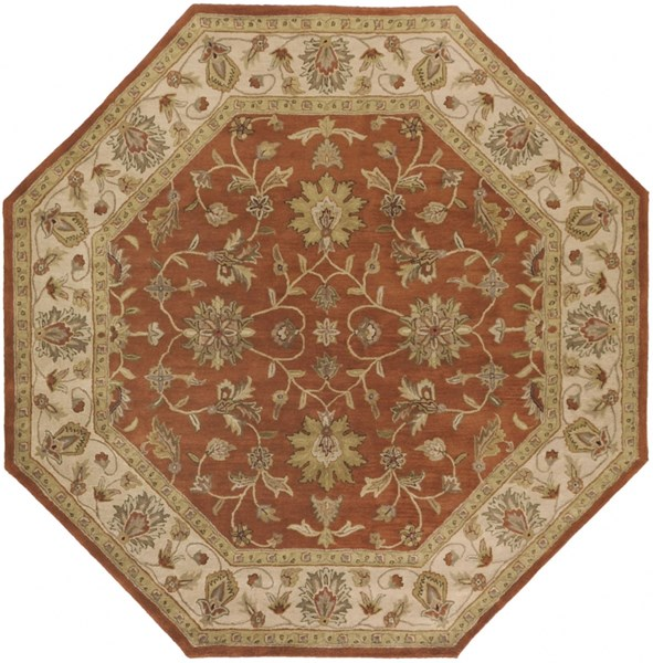 Crowne Rust Beige Taupe Wool Octagon Area Rug (L 96 X W 96) CRN6002-8OCT