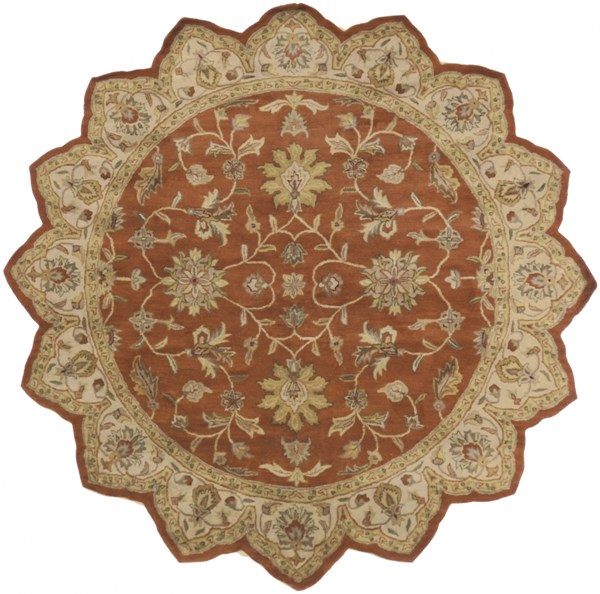 Crowne Rust Beige Taupe Wool Star Area Rug (L 96 X W 96) CRN6002-8STAR