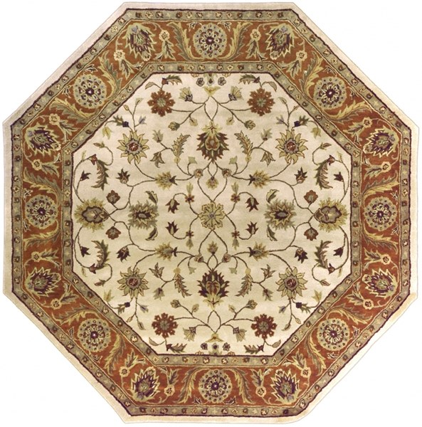 Crowne Beige Rust Taupe Wool Octagon Area Rug (L 96 X W 96) CRN6004-8OCT