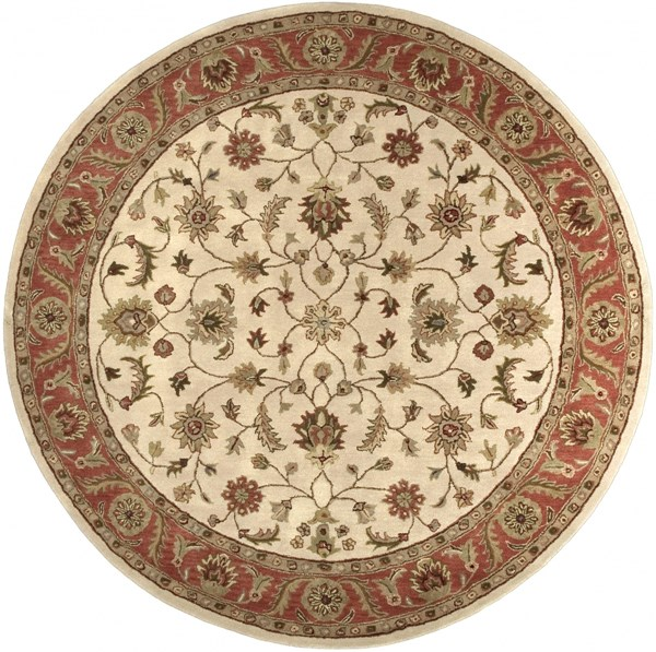 Crowne Beige Rust Taupe Wool Round Area Rug (L 96 X W 96) CRN6004-8RD