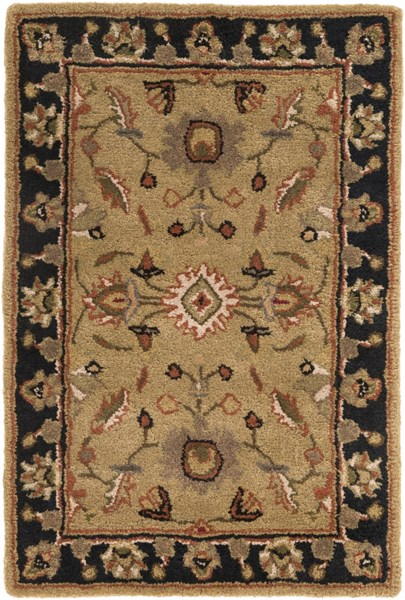 Crowne Gold Moss Olive Wool Area Rug (L 36 X W 24) CRN6007-23