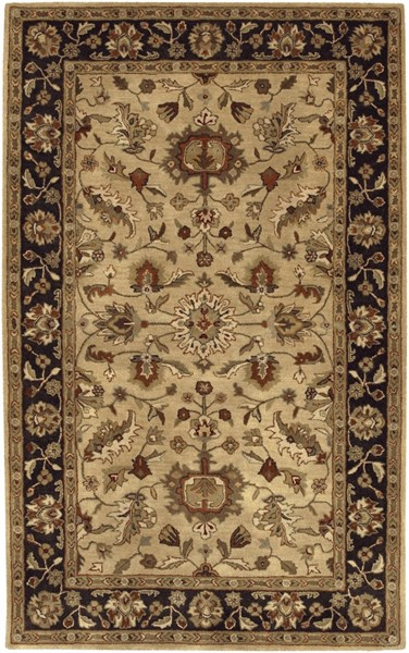 Surya Crowne Tan Black Gray Wool Area Rug - 180x144 CRN6007-1215