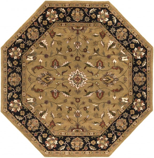 Crowne Gold Moss Olive Wool Octagon Area Rug (L 96 X W 96) CRN6007-8OC