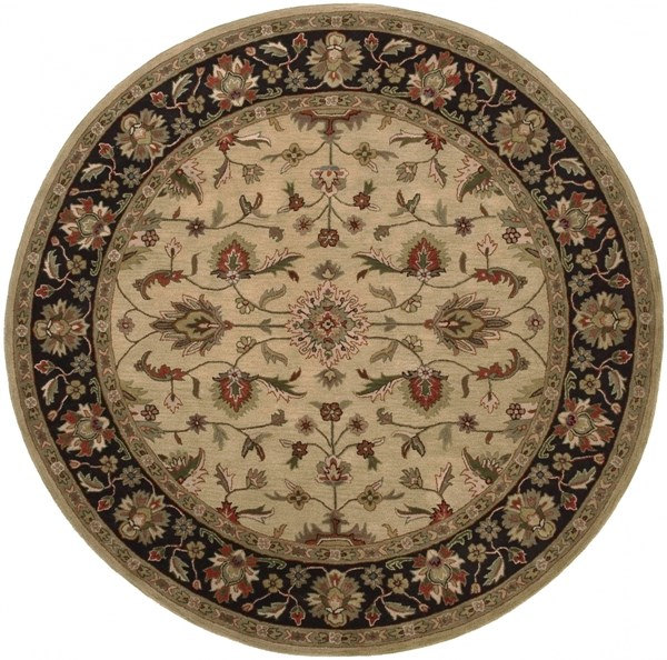 Crowne Gold Moss Olive Wool Round Area Rug (L 96 X W 96) CRN6007-8RD