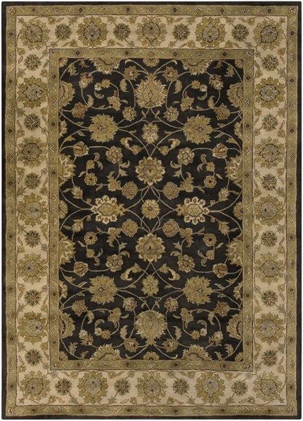 Crowne Black Olive Gold Wool Area Rug (L 132 X W 96) CRN6009-811