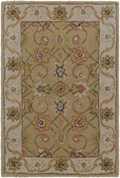 Crowne Traditional Beige Gray Olive Wool Area Rugs 919-VAR1