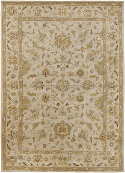 Crowne Taupe Gold Light Gray Wool Area Rug (L 132 X W 96) CRN6011-811