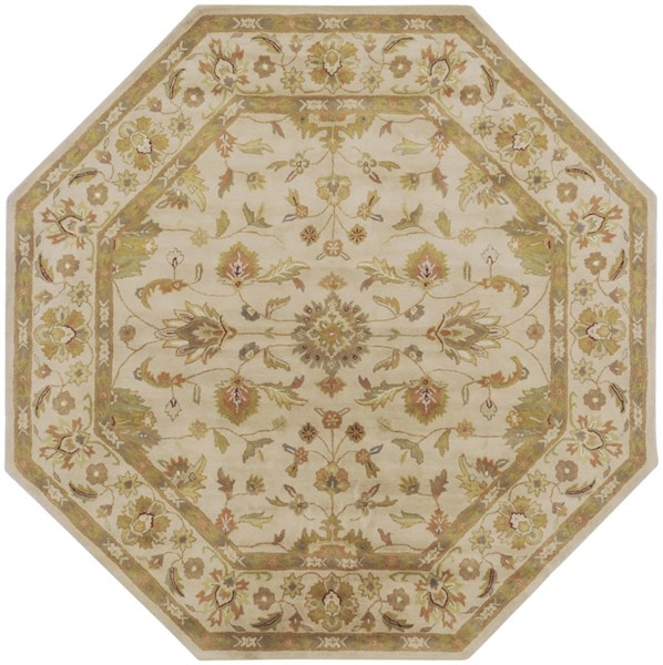 Crowne Taupe Gold Light Gray Wool Octagon Area Rug (L 96 X W 96) CRN6011-8OCT
