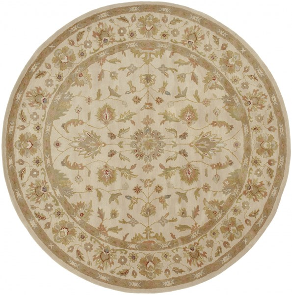 Crowne Taupe Gold Light Gray Wool Round Area Rug (L 96 X W 96) CRN6011-8RD