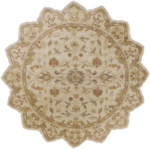 Crowne Taupe Gold Light Gray Wool Star Area Rug (L 96 X W 96) CRN6011-8STAR