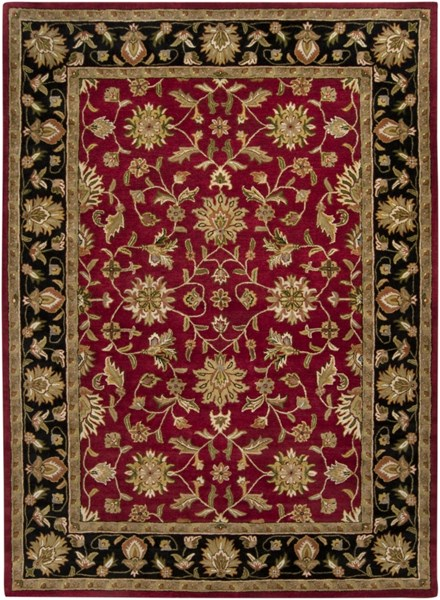 Crowne Burgundy Taupe Olive Wool Area Rug (L 132 X W 96) CRN6013-811
