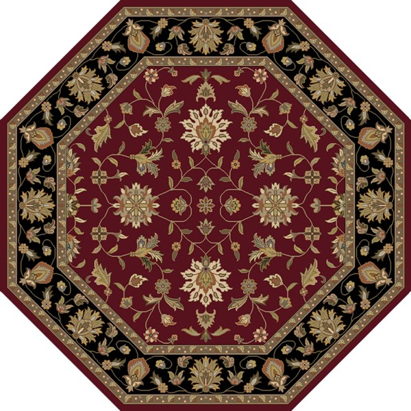 Crowne Burgundy Taupe Olive Wool Octagon Area Rug (L 96 X W 96) CRN6013-8OC