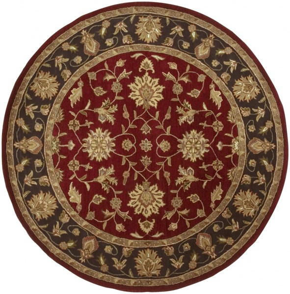 Crowne Burgundy Taupe Olive Wool Round Area Rug (L 96 X W 96) CRN6013-8RD