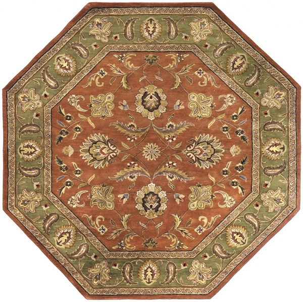 Crowne Rust Olive Charcoal Wool Octagon Area Rug (L 96 X W 96) CRN6019-8OCT