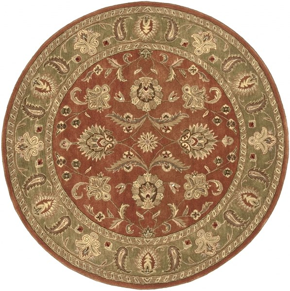 Crowne Rust Olive Charcoal Wool Round Area Rug (L 96 X W 96) CRN6019-8RD