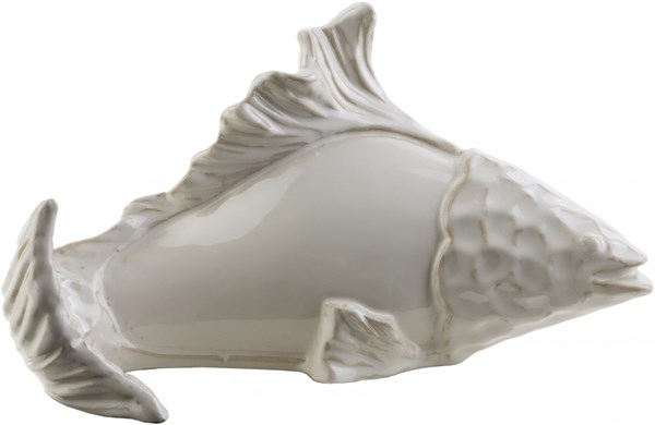 Clearwater Coastal Ivory Light Gray Ceramic Fish 14255-VAR1