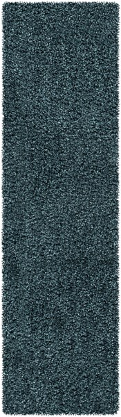 Croix Teal Black Polyester Area Rug (L 96 X W 27) CRX2999-238