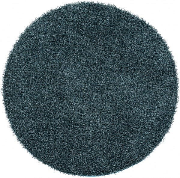 Croix Teal Black Polyester Round Area Rug(L 96 X W 96) CRX2999-8RD