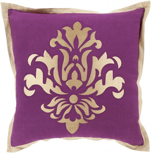 Cosette Eggplant Beige Poly Linen Throw Pillow - 20x20x5 CT004-2020P