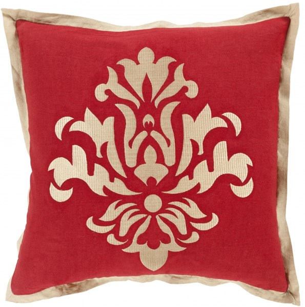Cosette Cherry Beige Poly Linen Throw Pillow - 20x20x5 CT005-2020P
