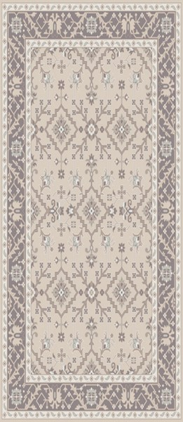 Castille Light Gray Charcoal Ivory Wool Area Rug - 30 x 96 CTL2000-268