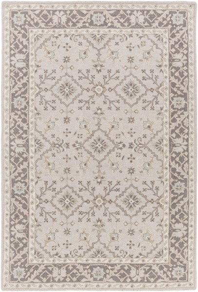 Castille Light Gray Charcoal Ivory Wool Area Rug - 60 x 90 CTL2000-576