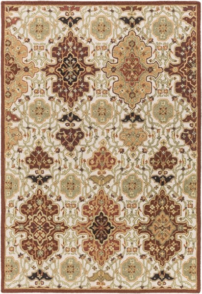 Castille Burgundy Burnt Orange Lime Wool Area Rug - 60 x 90 CTL2005-576