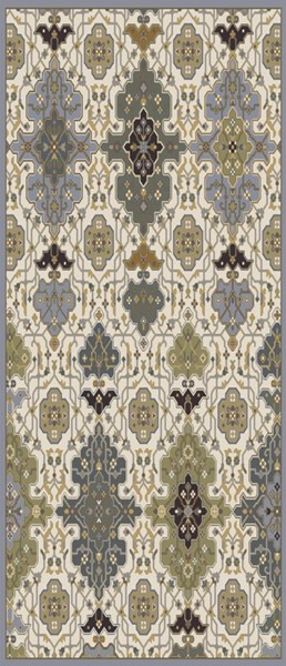 Castille Olive Gold Gray Wool Area Rug - 30 x 96 CTL2007-268